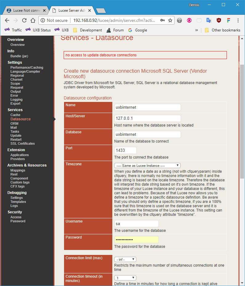 Lucee Not connecting to MSSQL 2012 server - resolved (sort of